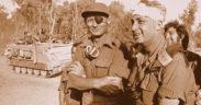Moshé Dayan e Ariel Sharon